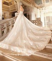 demetrios wedding dress - Luxury Demetrios A Line Wedding Dresses Plus Size Vintage Lace Chapel Train Princess bhldn Ruffles Arabic Wedding Gowns Bridal Gowns
