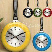 antique pan light - New Arrival Creative Stylish Inch High Quality Metal Flying Pan Wall Clock Kitchen Home Office Cooking Quartz Hanging Design order lt no t