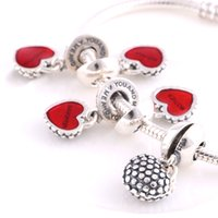 Wholesale Authentic silver mother daughter fit pandora charm gift Heart shape thread beads and retail European Bracelet Accessories