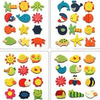 Wholesale 12Pcs bag Children Toys Creative Cartoon Animal Wooden Fridge Sticker Animals Magnetic Refrigerator Baby Education Dolls