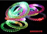 Wholesale New Acrylic Flash Bracelet Glitter Glow Flash Bracelet Light emitting bracelet Light Sticks Luminous Crystal Gradient Color Hand Ring Bangle