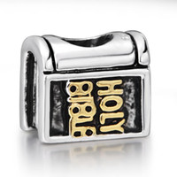 bible holy book - New Gold Plated HOLY BIBLE Cross Book Charm Sterling Silver European Charm Bead Fit Snake Chain Bracelet DIY Jewelry