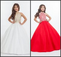 accessories color chart - White Red Organza Girls Pageant Dresses Beaded Crystal Halter Flower Girls For Wedding Dresses Ball Gown Kids Formal Wear Accessories