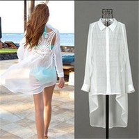 Cheap Sexy Hot Fashion Bohemian Women Shirts Chiffon Lace Crochet Back Hollow Full Sleeve Beach Blouses Tops Women Women Clothes White