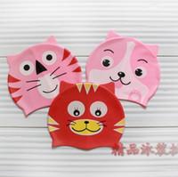 Wholesale Cartoon waterproof swimming cap child silica gel swimming cap cat waterproof ear male female child swimming cap