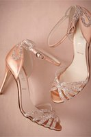 women shoes medium heel - 2015 Stunning Wedding Shoes High Heels Medium Length Women Shoes Open Toe Thin Heels Women Shoes for Wedding Party with Sequined