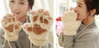 Wholesale Glove Novelty soft toweling lady s half covered gloves mittens Woman Winter Fluffy Bear Cat Plush Paw Claw christmas gift