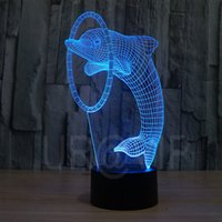 amazing dolphins - JC Amazing D Illusion led Table Lamp Night Light with animal dolphin shape
