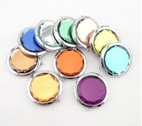 Wholesale Mixed Colors Cosmetic Pocket Compact Stainless Makeup Mirrors Travel Must Nice Bag Fashion Cute Design DHL Free Ship Logo Print