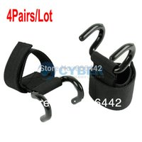 Wholesale 4Pairs x Black Weight Lifting Hook Training Gym Grips Straps Gloves Wrist Support Lift TK0773