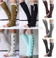 Wholesale 7 colors Hot Sale Women New Crochet Lace Trim Flat Button Down Braid Knit Leg Warmers Boot Socks Knee High Fashion frozenc717