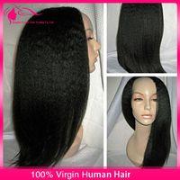 Wholesale 2015 Hot Selling Light Yaki U Part Wig Malaysian Virgin Human Hair Yaki Straight Upart Wig Remy Hair Middle Part Density Stock