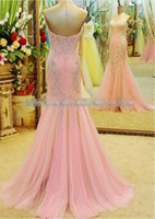 fashion in turkey - Luxury Gorgeous beaded sweetheart neckline fashion tull party gowns mermaid lace prom dress pink mermaid evening dress in turkey
