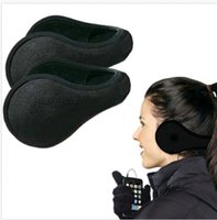 Wholesale Hot Selling Women Men Winter Ear Warmers Behind the Ear Style Fleece Muffs Black DH04