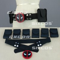 wade - 2016 x men cos one set Deadpool Belt Buckle with belt and pouches Wade Wilson Waist Strap Automatic Buckle Black Red for Halloween C415