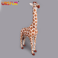 Wholesale Doll Plush giraffe Toys Large giraffe Simulation Animal Gift Genuine Sheep fur polyethylene furs handicraft house Decoration