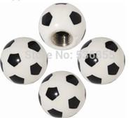 Wholesale 2014 new arrive novelty brass and ABS material car wheel tire valve cap stem football design air dust cap