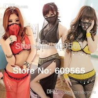 arab men dress - Sexy three colors Lingerie Arab Costume Suits Women Party India Cosplay Nightdress Mesh Legging Mask G string Pants Dress