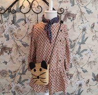 Cheap 2015 Sweet Spring Dress Girls Cotton Fruit Dots Flouncing Bohemia Girl Dresses Leisure Girl Dressy Kid Clothing Khaki EMS DHL Free K3351