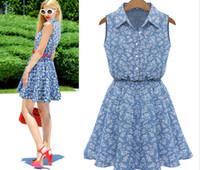 Wholesale Summer Fashion women dresses denim Lady Plus Size XL Lapel Sleeveless Casual Slim Denim Dress DHL Wholesales