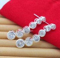 Wholesale Earrings Dangle Earrings Popular Six Round Zircon Long Silver Earring Jewelry Factory Price