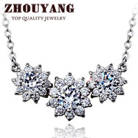 Cheap ZYN398 Sun Flower CZ Diamond 18K Platinum Plated Fashion Pendant Necklace Jewelry Made with Austria Crystal Wholesale
