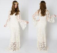 Cheap V Neck Sheer Lace Wedding Dresses Long Sleeve Poet Elegant Vintage Beach Wedding Dress A Line Charming Prom Party For Wedding Bridal Gowns