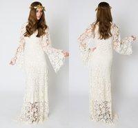 Wholesale V Neck Sheer Lace Wedding Dresses Long Sleeve Poet Elegant Vintage Beach Wedding Dress A Line Charming Prom Party For Wedding Bridal Gowns