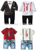 baby overall pattern free - new summer style newborn baby rompers boys clothes Tie strap short sleeves cotton overalls pattern jumpsuit