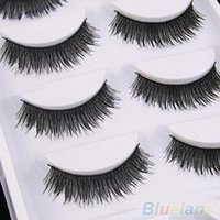 Wholesale 5 Pairs Natural Thick Cross Handmade Eye Lash Extension Makeup False Eyelashes