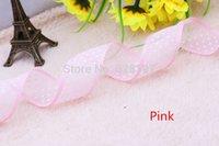Wholesale 25yard mm Polka Dot Printed Pink Satin laciness Edge Organza Ribbon For Bow Craft Wedding Party Decoration DIY Supply