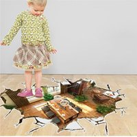 Wholesale living room through floor stickers wall decoration home decals pvc printing mural art landscape poster home decoration