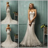 Cheap Custom Made Elegant Vestido de noiva White Lace Mermaid Wedding Dresses Sweetheart Sleeveless Court Train Button Crystal Amelia Sposa Cloe