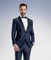 al por mayor solapas de-Trajes Azul marino de alta calidad de los smokinges del novio del mantón de la solapa de los padrinos de boda para hombre vestidos de novia Ropa de baile (Jacket + Pants + Faja + Tie) AA1045