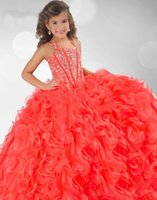Wholesale 2015 New Coral Organza Halter Ruffles Crystals Beaded Flower Girl Ball Gown Pageant Dresses RG