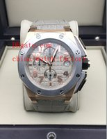 Wholesale Luxury Top Quality Mens Watch Rose Gold Royal Oak Offshore Gray Leather Swiss Quartz Movement Chronograph Working Men s Watches