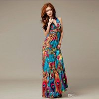 silk dress - Maxi dresses plus size summer dresses fashion Bohemian printing color peacock flower milk silk dress sexy deep V halter four colors