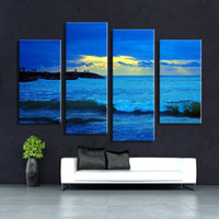 beautiful painting ideas - Hot Sell panel Sun raise Seascape Wall painting print on canvas for home decor ideas paints on Wall beautiful oil paintings