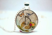american penny - 10pcs Penny Farthing Bicycle Necklace With Bird Hipster Vintage Style Bike Pendant Silver Plate Glass Photo Cabochon Necklace