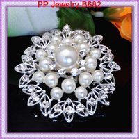 big costume jewelry wholesale - High Quality Imitation Pearl Flower Big Brooch B682 Vintage Fashion Women Costume Jewelry For Party