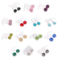 Wholesale Fashion Jewlelry AB Clay Disco Balls Crystal Shamballa Studs Earrings pairs Mixed Colors For Women