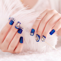 Wholesale Super show hand white fake nails finished suit bag mail Sapphire jewelry bride nail art essential