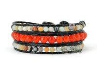 beaded layered bracelets - New Semi Precious Stones Strands Weave Leather Wrap Bracelet Multi Layered Natural Stones Bracelet