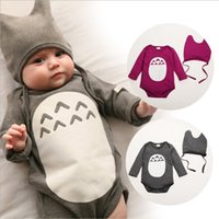 baby clothese - autumn cartoon totoro style romper flock printing long sleeve baby triangle climbing jumpsuit baby boys clothese jumpsuits