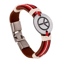 accessories sign decoration - Peace sign Leather bracelets for men and women Metal decoration Handmade Jewelry Accessories Bracelets set