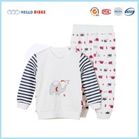 Wholesale Brand New Cotton Baby Boy Girl Clothing Set Long Sleeves Elephant Printed O neck Colors