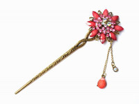 asian hair sticks - Hair Sticks Top Selling Luxury Hair Jewelry Discount Hair Accessories Women Wedding Promotion Gem Flower DHF443