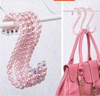 Wholesale 5pcs set popular S hook Plastic Pearl Clothes Clothing Hangers Fashion Personality Elegant hangers bags hooks wedding dress Robe Hooks