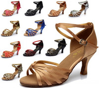 Wholesale 2015 Womens Ladies satin Latin Tango Salsa Ballroom Heeled Dance Shoes Colors for choose Gorgeous latin dance shoes CM CM Heel High