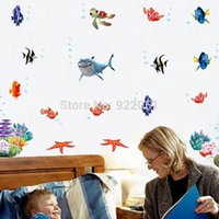 Graphic vinyl live fish - AY617 Cartoon Finding Nemo Wall Sticker Occean World Shark Fish Transparent Removable x0 m Children Shower Toilet Room Decor